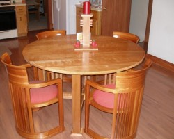 Round-Table-Dining-Room-Sets-With-Exquisite-Red-Foam-On-Classic-Stool-